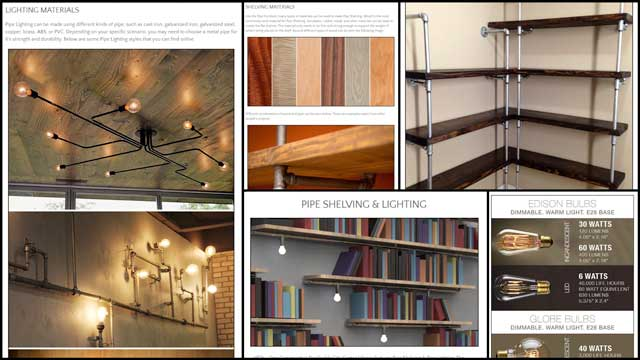 One Community pipe furniture, blog 226, This week, the core team continued work on the DIY Pipe Furniture tutorial page. This week we created two Materials images for the Pipe Shelving section and the Shelving Downloads button image. We also merged the Pipe Shelving and the Pipe Lighting into one section and created a new Pipe Lighting collage and added it to the page. Additionally, we added 3 more images to the Pipe Shelving & Lighting Diagrams section.