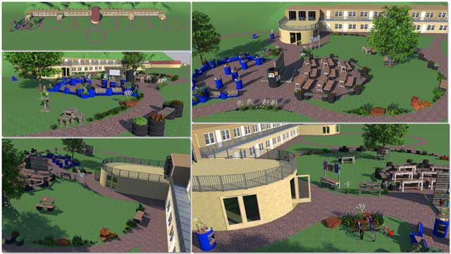 This last weekthe core teamalso continued working in Sketchup on the open source outdoor areas oftheRecycled Materials Village (Pod 6). We updated and added walking paths for the whole village and more plants, benches, and landscaping for the art area.