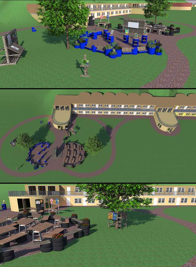 The core team also continued working in Sketchup on the open source outdoor areas of the Recycled Materials Village (Pod 6). We added planter-barrels, trees, potted plants, an easel, a walking path, and an art display around the tree, as shown here.