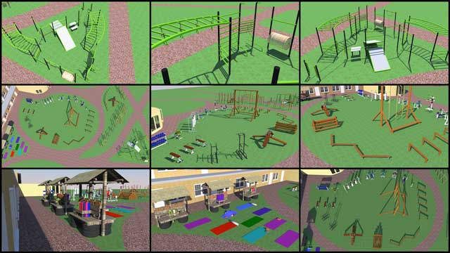 recycled materials village, One Community blog 250, The core team continued Sketchup design for the open source outdoor areas of the Recycled Materials Village (Pod 6). This week we finished designing the fitness stations, updated the benches in the yoga area, and continued working on the main equipment area.