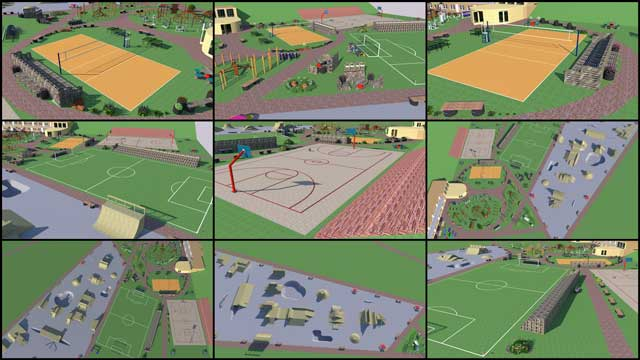 Outdoor Areas of Recycled Materials Village, blog 253, One Community, The core team continued Sketchup design for the open source outdoor areas of the Recycled Materials Village (Pod 6). This week we designed the volleyball, mini soccer and basketball area, adjusted the skate park field size, added benches and tables, and changed the wooden texture to concrete for the field, pools and tunnel.