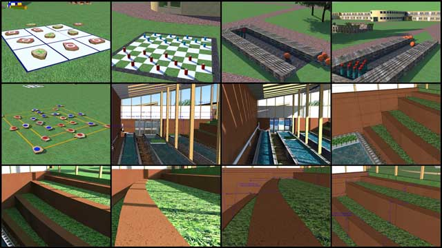 This last week the core team continued Sketchup design for the open source outdoor areas of the Recycled Materials Village (Pod 6). This week's focus was continued research and design updates to include outdoor games made with recycled items like marked stones, cans, and bottles, recycled-tire mulch.