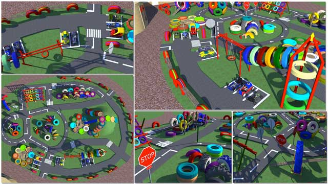Recycled Materials Village, One Community blog 247, Thecore teamcontinued Sketchup design for the open source outdoor areas of theRecycled Materials Village (Pod 6). This week we added the racetrack road design, as shown here.