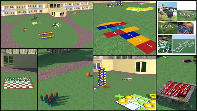 The core team continued Sketchup design for the open source outdoor areas of the Recycled Materials Village (Pod 6). This week we researched ideas for the outdoor game and exercise areas and designed and modeled the walkways and several outdoor game ideas in Sketchup.