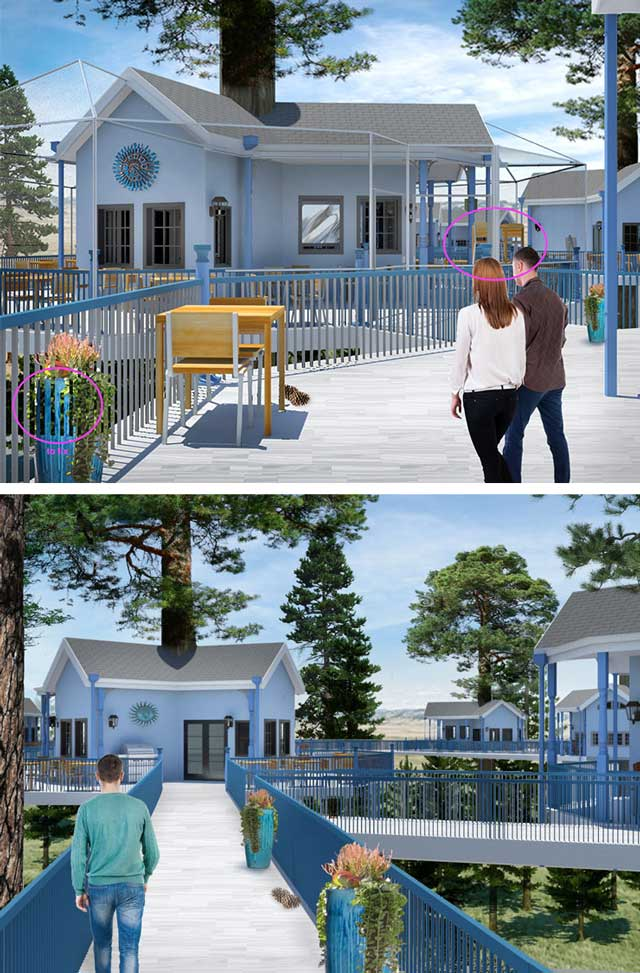 In addition to this, the core team continued development of the two Tree House Village (Pod 7) renders shown here, updating trees, adding people, and other aesthetic elements.