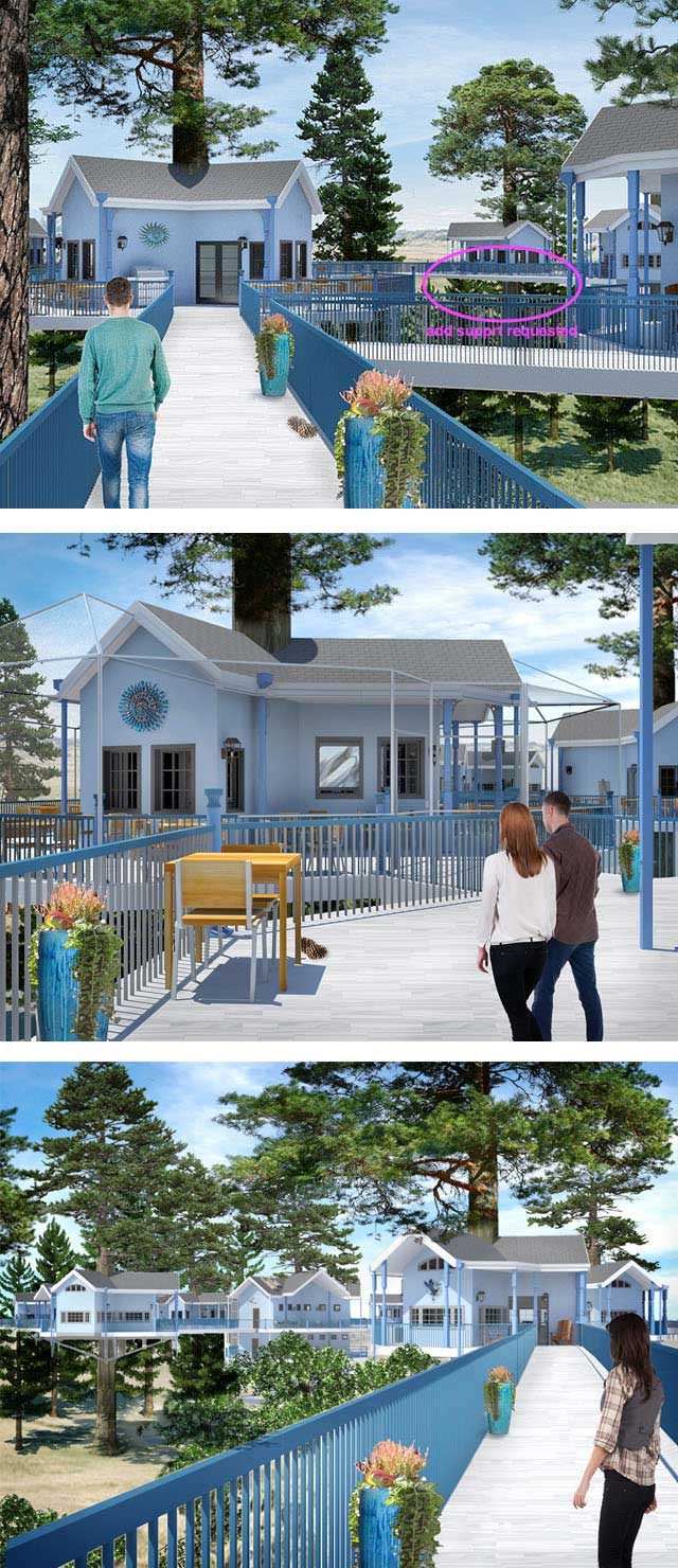 Continued Development of the Tree House Village Renders