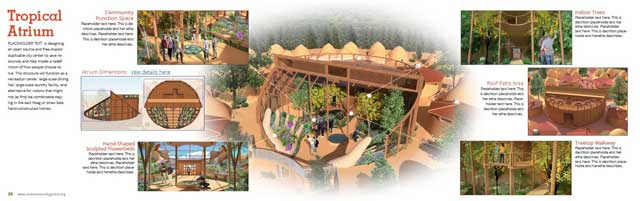 This week the core team added people to the replacement Tropical Atrium images, added callouts, and revised the Tropical Atrium page shown here.