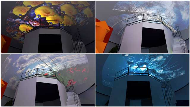 We also continued working on the renders for the Ultimate Classroom projection-dome feature. This included using a different view point for rendering, and applying several different projected images, as seen here.