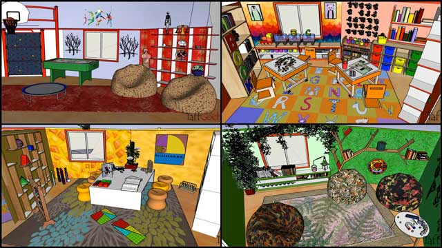 And the core team continued creation of the renders for The Ultimate Classroom, adding subject-related items to the red (Health/Nutrition) room, orange (English) room, yellow (Math) room, and green (Science) room.