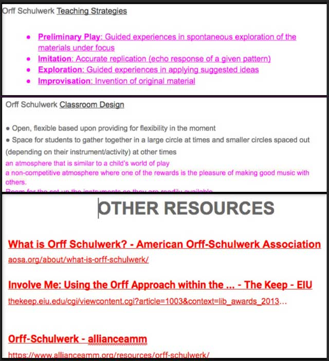 Thecore team alsocompleted the draft of theOrffpage, and reviewed and reedited the Reggio, Waldorfbehind-the-scenes content and began work on the additionalMulti-intelligencesresearch and content.