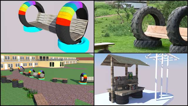 Thecore teamalso continued working in Sketchup on the open source outdoor areas oftheRecycled Materials Village (Pod 6). Wechecked andreplaced all repetitive items with easier to render components, created a bench with back support and tires (see top right pic that inspired the idea), and began designing a bench with roof and bookshelves.