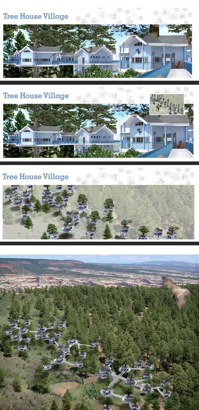 The core team also continued working on the complete Tree House Village (Pod 7) render. This week's focus was creating 3 options for the webpage header, and the final render of the complete village, all of which you can see here.