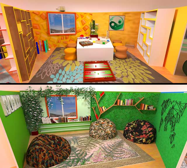 In addition, the core team continued creation of renders for The Ultimate Classroom. We added items and updated the textures of items for the yellow and green rooms, and added the updated windows as well.