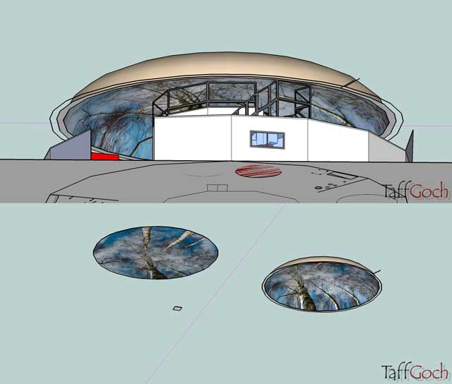 """We also began working on the renders for the Ultimate Classroom projection dome feature. This included learning how to map photo textures to curved surfaces by watching the """"Google SketchUp For Dummies"""" video (created by Aidan Chopra) and applying what we learned to place a projected image for the Ultimate Classroom dome ceiling, as shown here."""