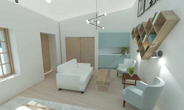 Straw Bale Village Studio interior, Final Render, Brianna Johnson