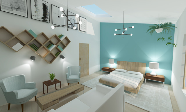 Studio Interior render looking West, Straw Bale Village, Brianna Johnson, One Community