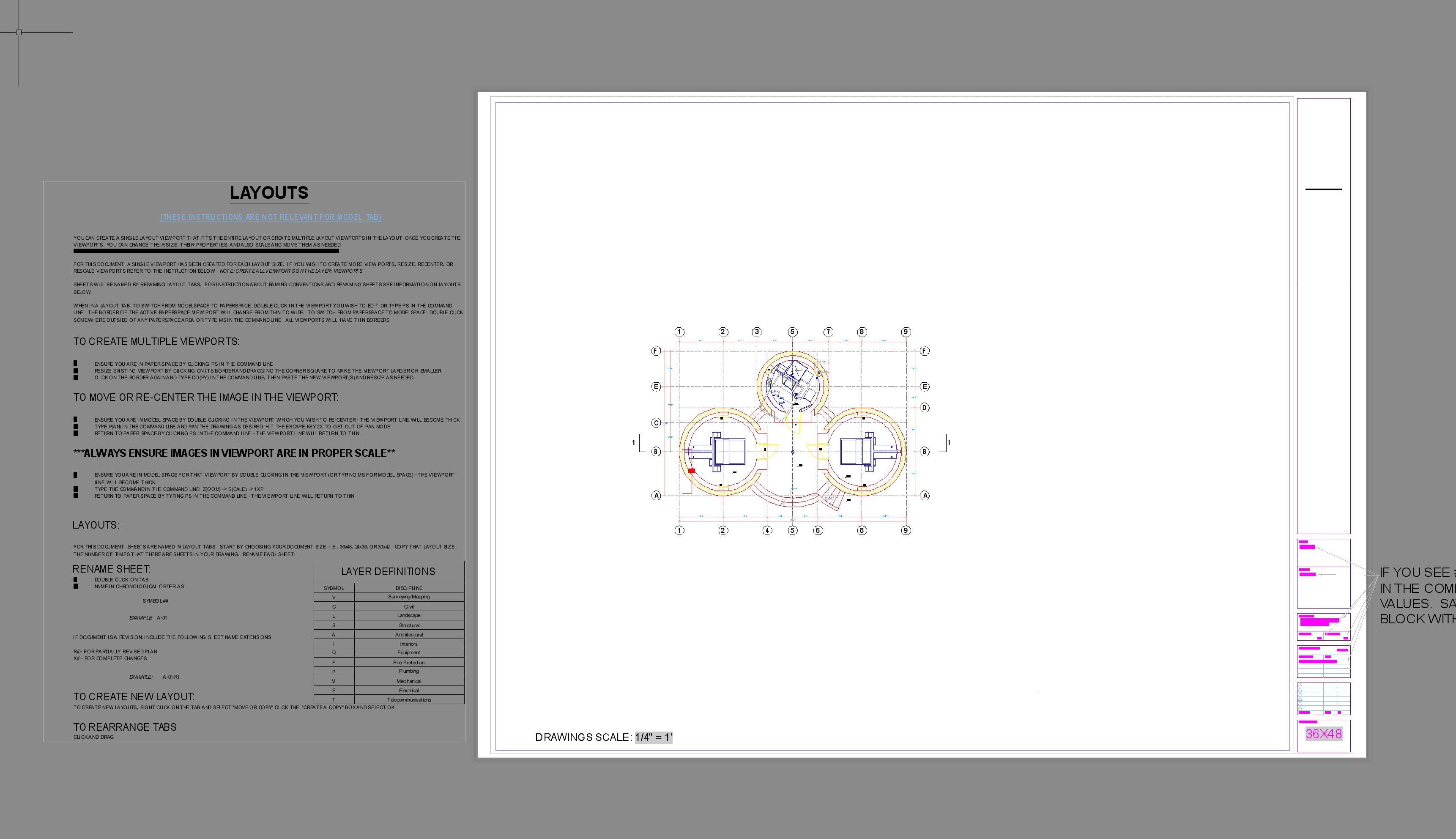 Open Source Autocad Template Tutorial Dwg File Download Blocks Etc