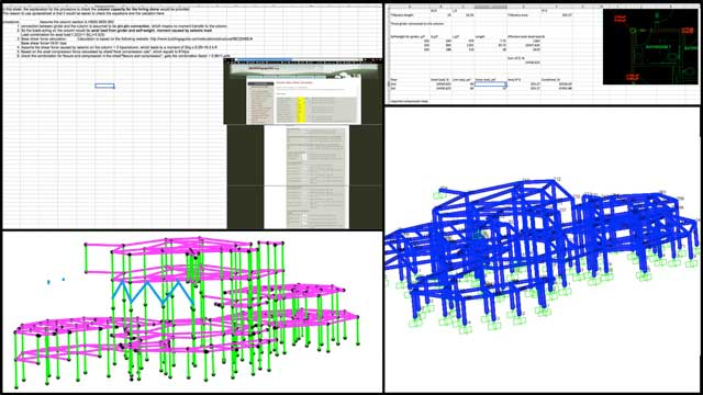"""Haoxuan """"Hayes"""" Lei (Structural Engineer) and Shuna Ni (Masters of Mechanical Engineering and Civil Engineering PhD) also continued their work on the City Center structural engineering. This week's work continued focusing on environmental load calculations for the columns and modeling the structure as seen here."""