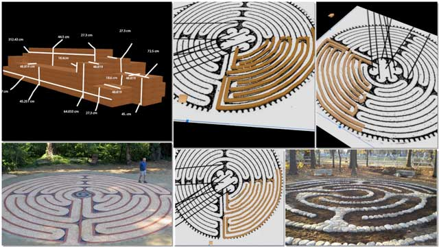 Guy Grossfeld (Graphic Designer) continued with 3D earth block outdoor furniture construction for the Compressed Earth Block Village (Pod 4). What you see here is his 11th week of this work that focused on clarifying all the measurements for the compressed earth brick bench and beginning the layout of the earth brick labyrinth.