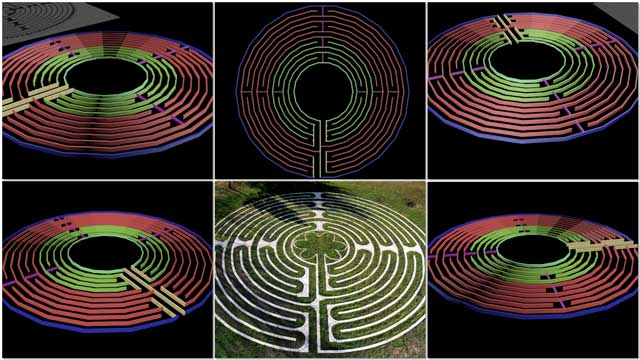Guy Grossfeld (Graphic Designer) continued with 3D earth block construction for the Compressed Earth Block Village (Pod 4) labyrinth meditation walking path. This week's focus was trying a new approach that allowed him to finish the layout for this, as shown here: