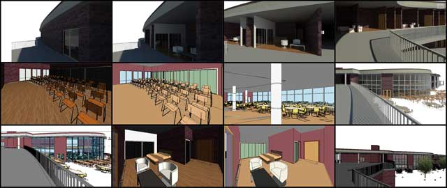 Hamilton Mateca (AutoCAD and Revit Drafter and Designer) also finished his 18th week helping with the Compressed Earth Block Village (Pod 4) design details. This week's focus was focused on continued development of the internal and external Revit 3-D room and exterior design specifics shown here.