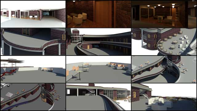 Hamilton Mateca (AutoCAD and Revit Drafter and Designer) also finished his 19th week helping with the Compressed Earth Block Village (Pod 4) design details. This week's focus was on railing, lighting, and furniture updates to the internal and external Revit 3-D room and exterior design specifics shown here: