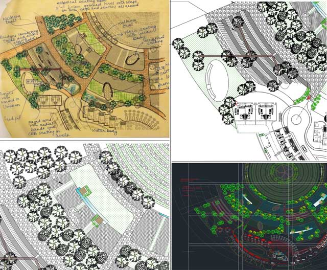 Aparna Tandon (Architect) additionally continued her work on the Compressed Earth Block Village external elements. What you see here is her 5th week of work, focusing on continuing to develop the landscape and layout details for the East play area and one of the central recreation spaces on the North.