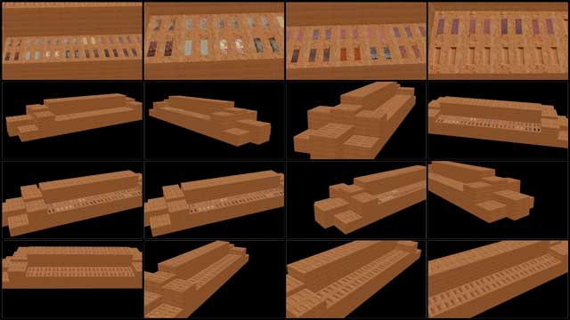 Guy Grossfeld (Graphic Designer) continued with 3D earth block outdoor furniture construction for the Compressed Earth Block Village (Pod 4). What you see here is his 10th week of this work that focused on creating and testing different textures to fill in the empty spaces on top of the compressed earth bricks.