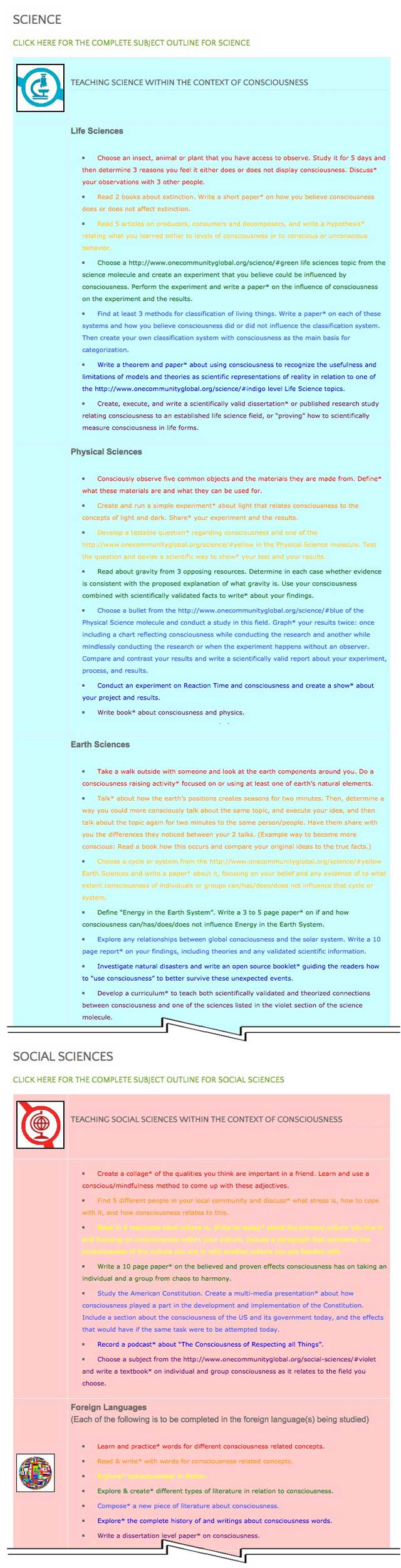 """This last week the core team transferred the third 25% of the written content for the Consciousness Lesson Plan to the website, as you see here. This lesson plan purposed to teach all subjects, to all learning levels, in any learning environment, using the central theme of """"Consciousness"""" is now 75% completed on our website."""