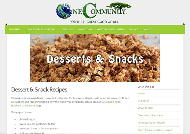 """This last week the core team cleaned up the recipes on the breakfast page and created a """"Dessert & Snack Recipes"""" page. You can see images of that work here:"""