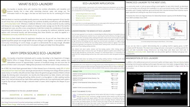 The core team also began updating the eco-laundry page with Jinxi's work, finishing the What, Why, and initial 3 Details sections discussing the range of what is possible from the most basic approaches to the most comprehensive. Visit the page to read the details.