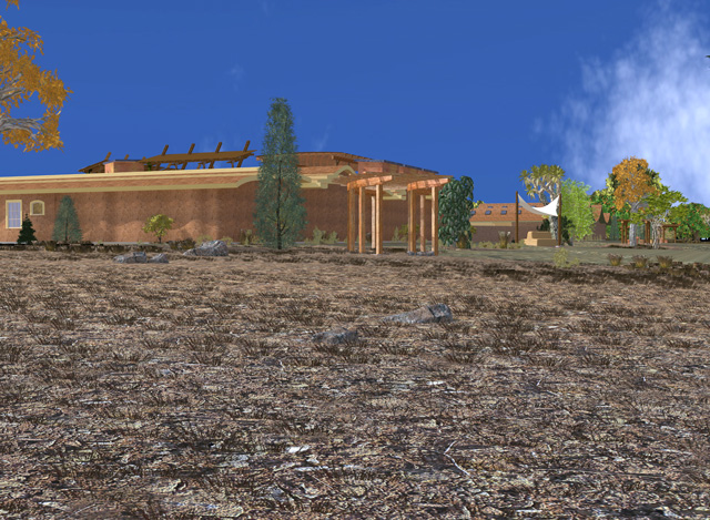 Dean also fixed the sky to create this new final render of the back view looking East, Cob Village, One Community