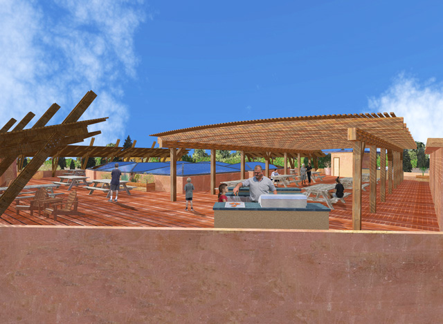 Adding details to Dean's previous work, Guy Grossfeld (Graphic Designer) added people and nature elements to create final view of the Cob Village Roof View Looking Southwest: