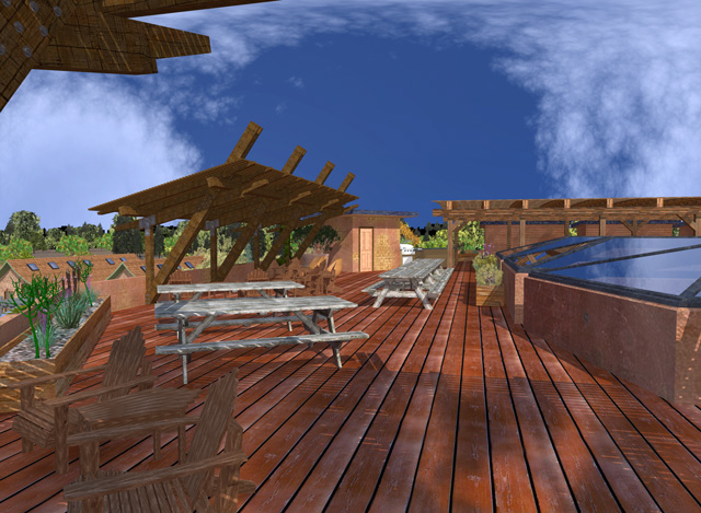 Dean Scholz (Architectural Designer), continued helping us create quality Cob Village (Pod 3) renders eading up to this final rooftop view looking North.
