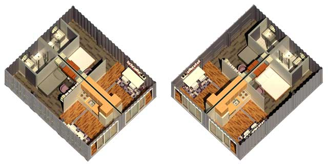 Yee-Cheng Ho (Interior Designer) also finished her 8th week of helping with the Shipping Container Village (Pod 5) renders for the living units. This week's focus was on creating this first iteration of a maximally space efficient design that we hope to adapt to fit into 1 container.