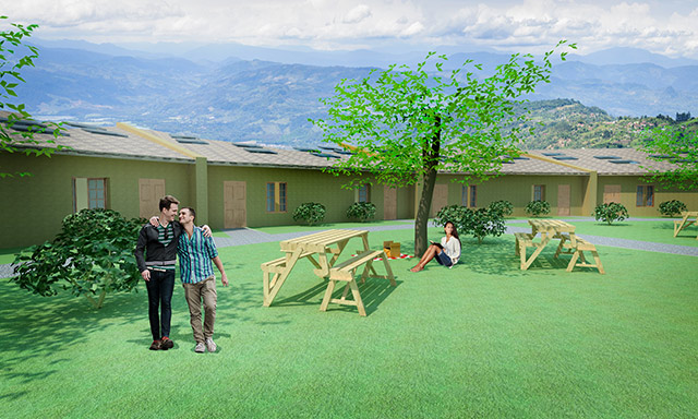 Straw Bale Village, One Community, Outdoor Picnic Area Looking East, final render