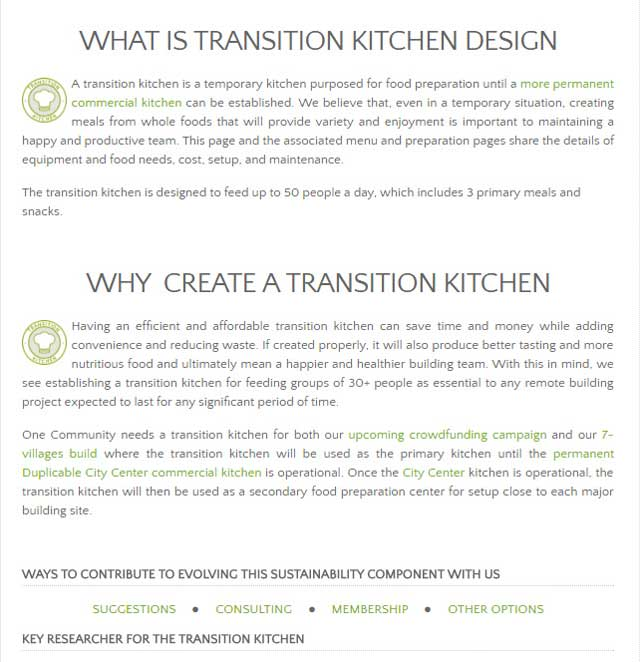 This week, the core team completed edits and additional content needed to bring the Transition Kitchen page to 90% complete.