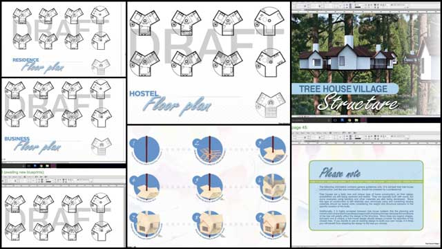 Zachary Melin (Graphic Designer) also continued developing the Tree House Village (Pod 7) book. What you see here is week 15 of this work that continued with updates to more pages that will feature Jiming's new floor plans and designs once they are complete.