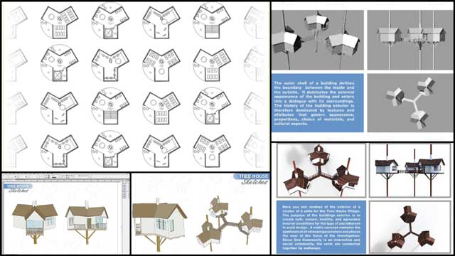 Zachary Melin (Graphic Designer) also continued developing the Tree House Village (Pod 7) book. What you see here is week 14 of this work that continued with updates to the pages that will feature Jiming's new floor plans and designs once they are complete.