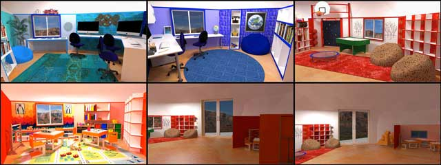 Ultimate Classroom renders, One Community, In addition, the core team continued creation of renders for The Ultimate Classroom. We updated the windows, tables and chairs for the blue, indigo and red room, added items to the orange room, and rendered the entry doorway area.