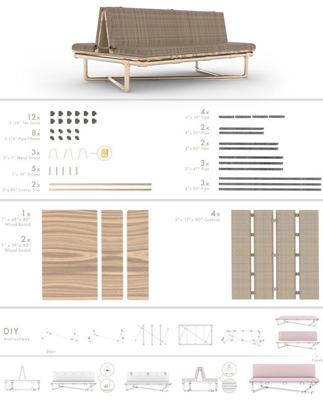 pipe furniture couch assembly instructions, One Community, Iris Tsu