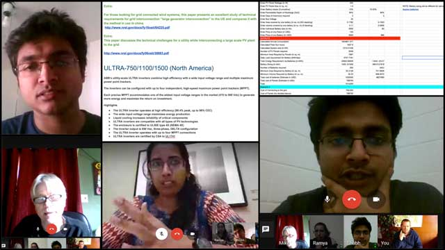 Ramya Vudi (Electrical Engineer) and Shubham Agrawal (Electrical Engineer) continued their work on the energy infrastructure for the City Center. What you see here are a couple photos from the weekly collaborative calls with Mike Hogan (Automation Systems Developer and Business Systems Consultant and this week's research into what is needed to connect to and sell solar power back to the grid.