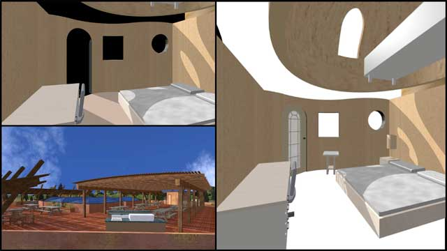 Dean Scholz (Architectural Designer), continued helping us create quality Cob Village (Pod 3) renders. Here is update 46 of his work that focused on starting the internal home views...