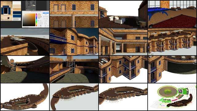 Hamilton Mateca (AutoCAD and Revit Drafter and Designer) also finished his 20th week helping with the Compressed Earth Block Village (Pod 4) design details. This week's focus was on testing and updating textures for the bricks, frames, and railings