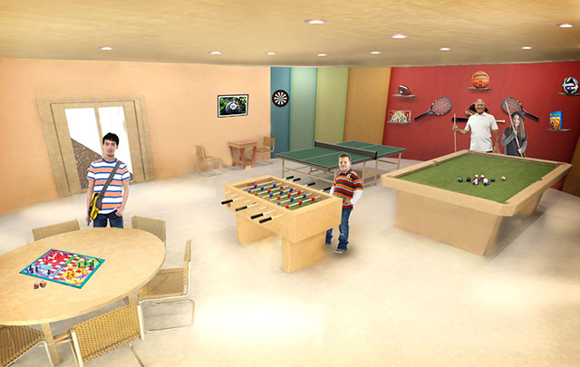 Recycled Materials Village Game Room final render, One Community