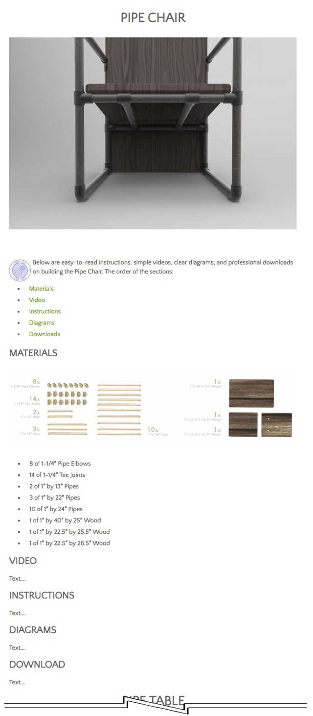 Also, Jennifer Zhou (Web Designer) and Ashwin Patil (Web Developer), finished their 4th week of collaboratively working on the open source pipe furniture page. This week's focus was working on improving the slider image function and finalizing the general layout shown here for the different tutorial sections.