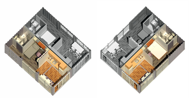 Yee-Cheng Ho (Interior Designer) also finished her 9th week of helping with the Shipping Container Village (Pod 5) renders for the living units. This week's focus was finishing these two back-to-back single-residence designs created using 3 shipping containers.