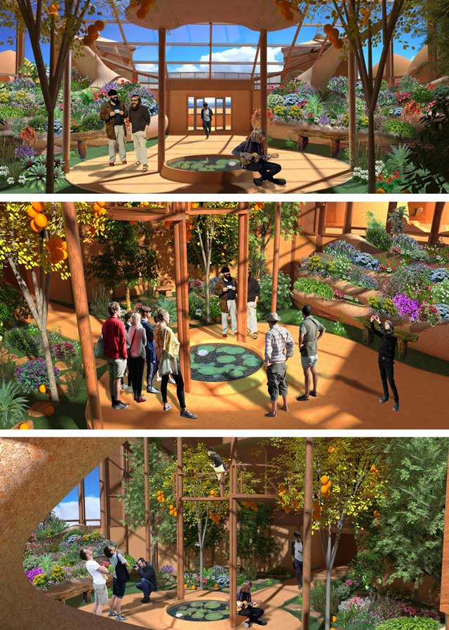 Shadi Kennedy (Artist and Graphic Designer) created these 3 renders of the Tropical Atrium with people in them. These now go to the core team for final review and edits.