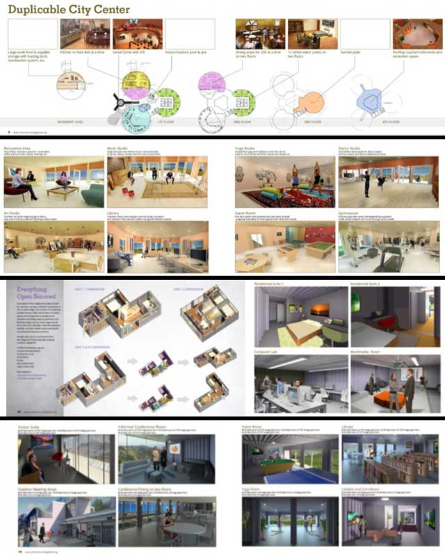 The core team also completed another large round of revisions for the upcoming 7 villages online book. You can see some of these revisions here, including an updated and color version of the Duplicable City Center floor plan, and new imagery and descriptions on the Recycled Materials Village (Pod 6) and Shipping Container Village (Pod 5) spreads.