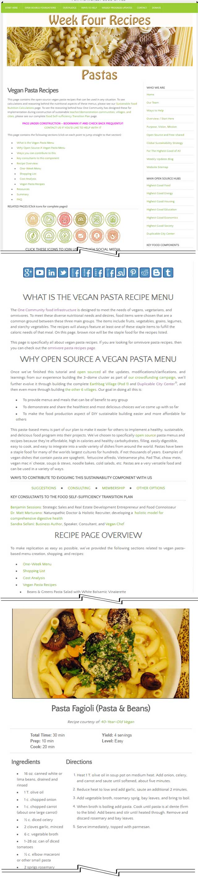 This week, the core team finished reformatting and adding sections to the Vegan Pasta Recipes & Omnivore Pasta Recipes pages, bringing both of the pages to 100% completion. You can see a sample of that work here, on the vegan pasta recipe page: